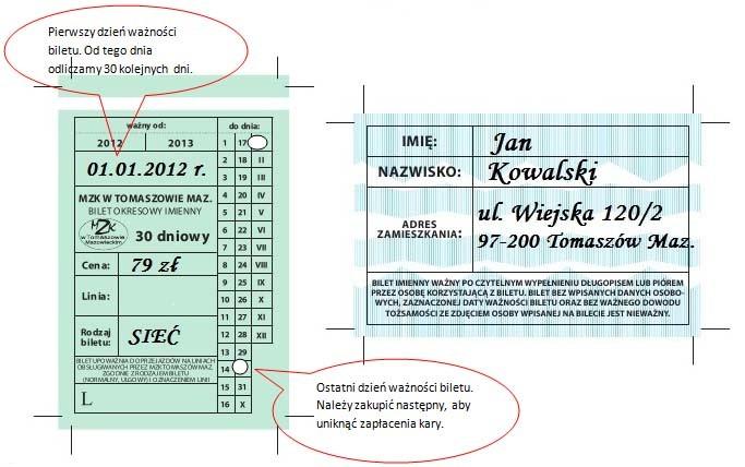 wzor wpisywania imiennego biletu